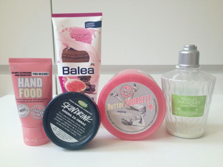 beauty, blogger, fashion junkie, products, face, body, soap and glory, loccitane, lush, moisturizer, body butter, body milk