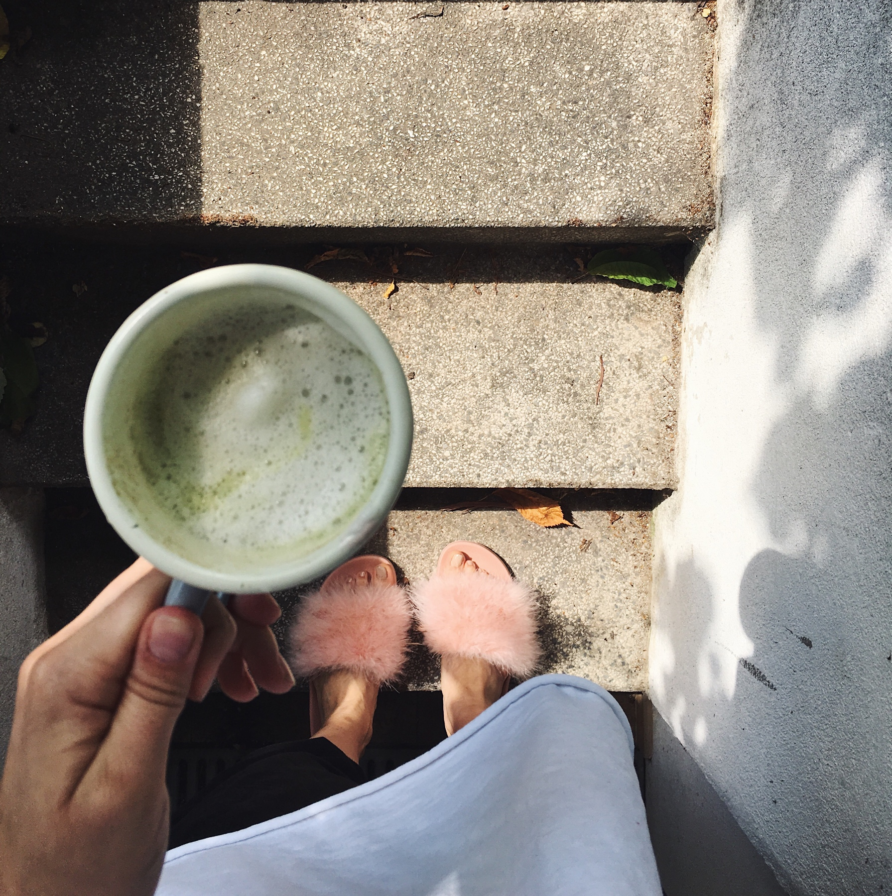 taking a moment between sneezing for morning matcha  #weekendvibes